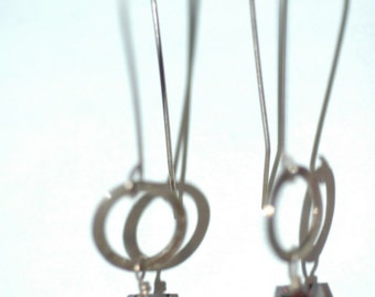 Long Sterling Earrings with Circles and Swarovksi Cube Dangles