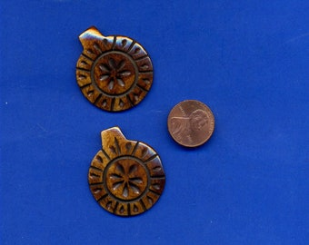 2 Bone Disk Beads with Flower Design, Hand Carved, Number 413