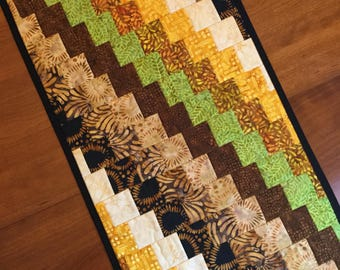 """Quilted bargello table runner topper made from cotton batiks  15"""" x 30.5"""" modern geometric runner"""