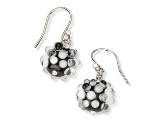 Black and White Sculptural Glass Earrings, flamework glass Op-Art style earrings