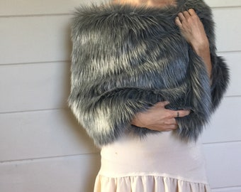 Shag faux fur bridal wrap stole shawl gray