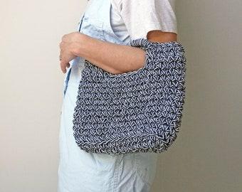 small summer handbag, top handle bag, rope basket bag, black and white bag, ethical handbag, knitted recycled rope bag, summer holiday bag
