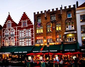 Brugge Belgium - Europe - Architecture - Building - Cafe - Travel Photograph - Dutch Cafes
