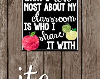 What I Love Most About My Classroom Is Who I Share It With ~8X10 Teacher Gift Sign~ {INSTANT Digital Printable Download}