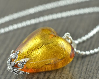 Citrine yellow Murano glass necklace Yellow heart necklace Queen of Hearts Necklace gifts for her