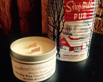 Maple Sugar scented 4oz soy wax candle with double wooden wick
