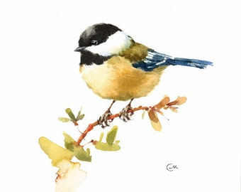 Chickadee - Original Watercolor Tit Bird Painting 7 4/5 x 7 4/5 inches