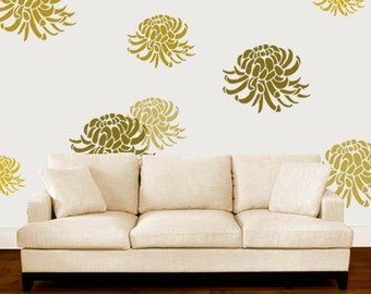 Chrysanthemum Stencil Floral Flower Painting Stencils Large Wall Paint Any