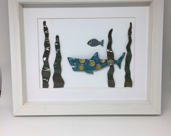 Framed Shark Enameled Glass Collage