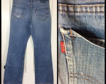 distressed faded 1970's Levi's 517 Boot Cut worn soft Denim Blue Jeans 36X33 single stitch #2 button Talon zipper black bar stitch #289