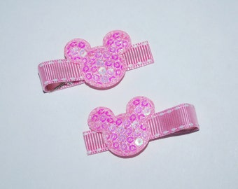 Mickey Mouse Pink Sequin Hair Clips - Buy 3 Items, Get 1 Free