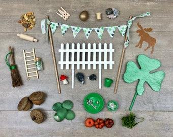 Gnome fairy garden accessories, Irish Fairy Garden, Green Fairy garden, Leprechaun, Build your own fairy garden.
