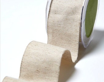 "Natural Jute and Cotton Wide Ribbon 2"" Wide 10 Yard Roll Gift Wrapping Supply"