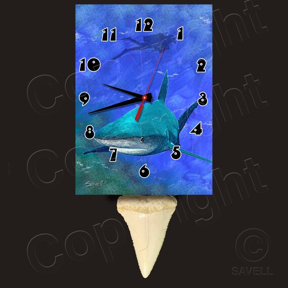 Shark Clock with Shark Tooth Pendulum • SCUBA Diver Clock