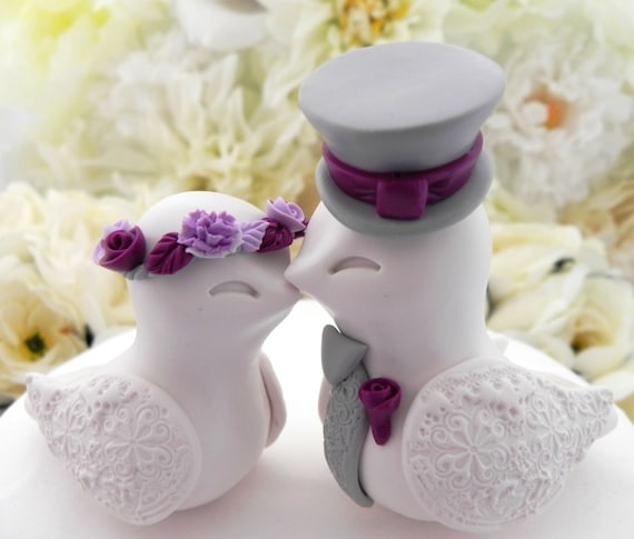 Love Birds Wedding Cake Topper, White, Plum, Lavender and Grey, Bride and Groom Keepsake, Fully Customizable