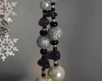 Amethyst, Pearl ad Silver Earrings