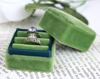 Ring Box, Vintage Style in Green With Teal Ribbon Accent For Weddings and Proposals, Gem Storage