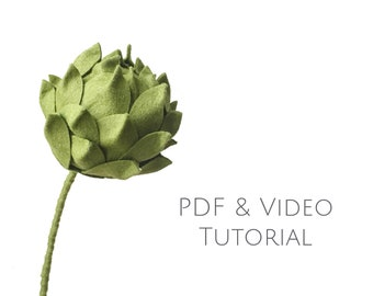 Flower tutorial - Artichoke - Video tutorial - felt