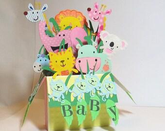 New Baby Box Card, Welcome Baby, Shower Card, Baby Animal, Jungle Animal, Lion, Tiger, Hippo, Elephant, Giraffe, Monkey, Baby Boy, Baby Girl