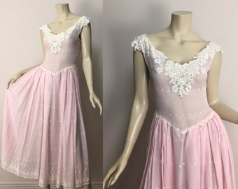 80s Pink Princess Dress- 1980s Embroidered Voile Summer Prom Formal Sleeveless Drop Waist Fit and Flare Romantic New Wave Party Medium