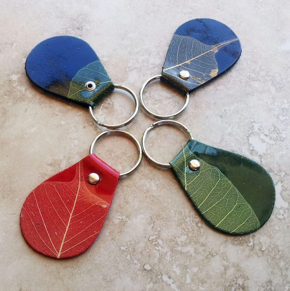 Leather Key Chain/ Key Ring Pack - Oval Shape