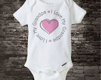 I love my Grandpa T-shirt or Onesie Bodysuit with pink heart 06122017d