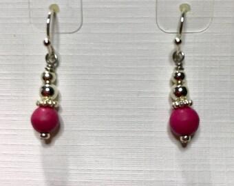 Petite ceramic dark fuchsia drop earrings