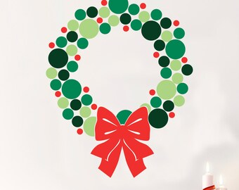 Modern Christmas Wreath -Wall Decal Custom Vinyl Art Stickers