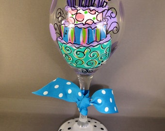 Hand Painted Birthday Cake Birthday Girl Red Wine Glass