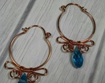 Blue and Copper Hoop Earrings