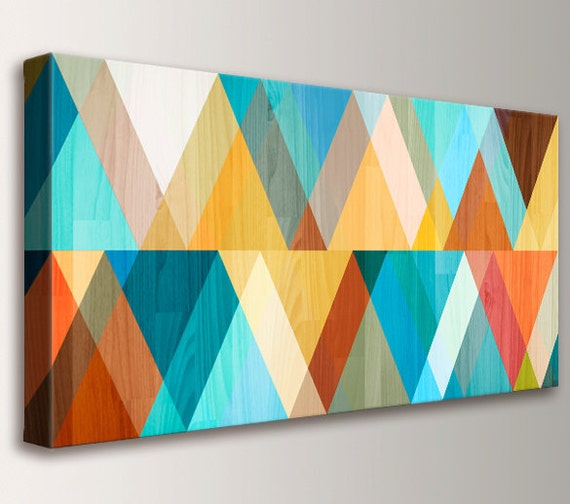 "Mid Century Modern Retro Canvas Print Mid Century Wall Art Large Wall Art Geometric Art in Teal Coral and Yellow ""Juxtaposed"""