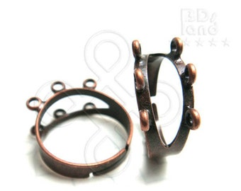 last 2packs -50% / G108BZ / 6Pc / 2Rows x 3+3Loops - Antique Copper Plated Adjustable Finger Ring Findings