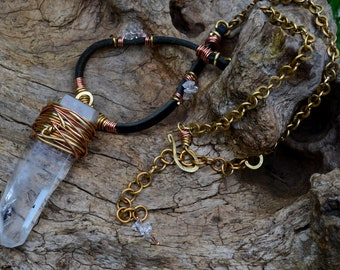 Long necklace Tribal/ethnic/rustic with rock crystal, brass & copper