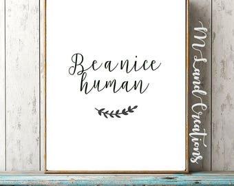 be a nice human / funny wall art / funny quote / office decor / funny office decor / don't be a jerk / be nice wall art / nice human