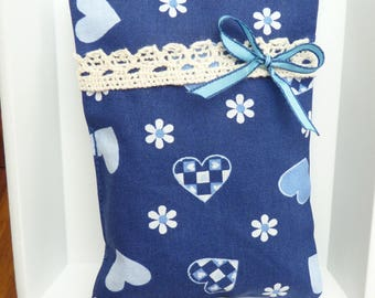 Lavender Pillow, blue with hearts and flowers, lavender blossoms, fragrance bags
