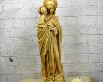 """Large Statue Virgin Mary Madonna Infant Child Chapel Snake under Her feet 26.77"""""""