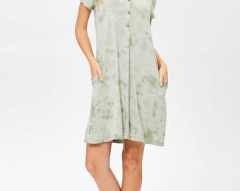 Erina Boutique Easy to wear Comfort Organic Bamboo Jersey Henry Women Dress Sage Made in Los Angeles