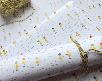 Bird Wrapping Paper, Children's Wrapping Paper, New Baby Gift Wrap, Kids Wrapping, Chick and Crown, Easter Wrapping Paper, halfpinthome, uk