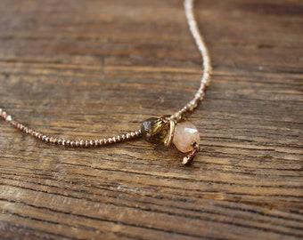 Ombré crystal charm necklace