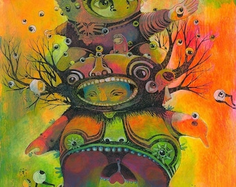 Artprint-Fluorescent colourful painting drawing, aztec style