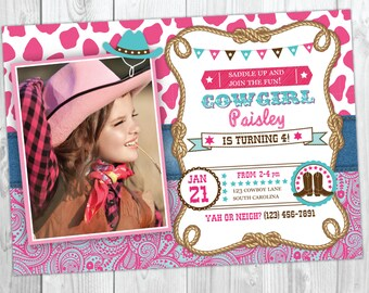 Cowgirl invitation cowgirl birthday invitation with photo cowgirl birthday invitation cowgirl birthday party country western birthday cowgirl invite filmwisefo Images