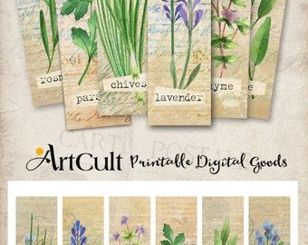 Printable Digital Collage Sheet HERBS BOOKMARKS Instant Download, Paper goods for journaling scrapbooking artcult print-it-yourself goods