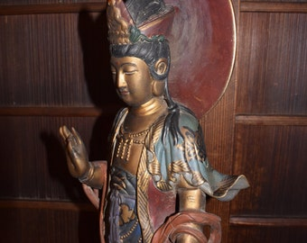 Old Chinese  Wood Carved Kwan Yin / Kannon Bodhisativa Statue