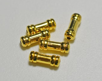 Gold plated embellished tube beads, 9x3.5mm - #2082