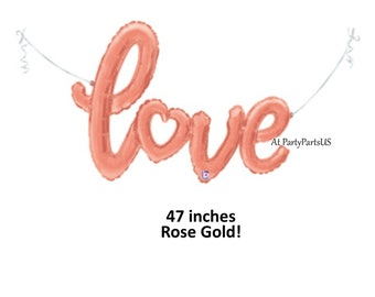 rose gold love script balloon, wedding decorations, bridal shower decor, heart, romantic, banner, photo background, photography prop, baby