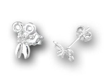 925 Sterling Silver 0.03 ct CZ Scissors Stud Earrings