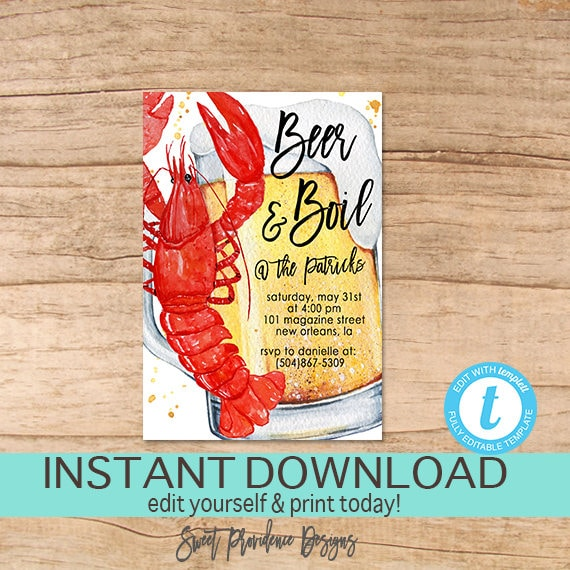 Crawfish Beer and Boil Invitation Any Occassion Crawfish