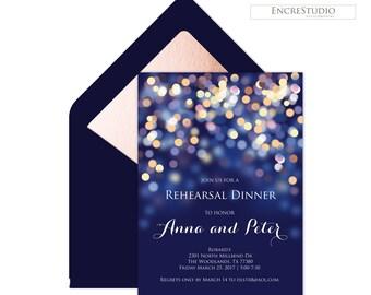 Printable Rehearsal Dinner Invitation - Under the Stars Wedding Rehearsal, Navy and Gold Bokeh Rehearsal Dinner Invitation, Night Sky,