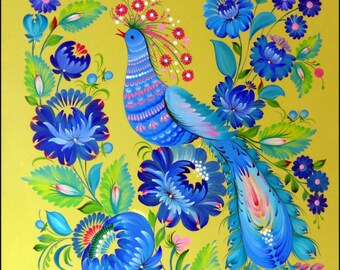 MORNING SONG original 70x50 cm painting etno Wall decoration Petrykivka Ukrainian style interior design by Halyna Kulaga