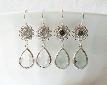 Gray Silver Crystal Drop Earrings, Crystal Earrings